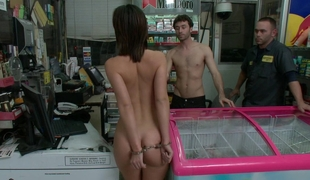 Jada Stevens gets screwed by two in a store