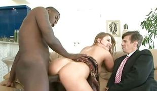 Dad watches mom take black cock