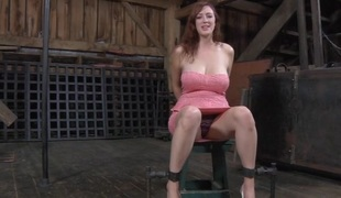 Domination porn where she is tied up and fingered on twat