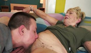 Old woman encircling a hairy minge gets a dick deep inside her