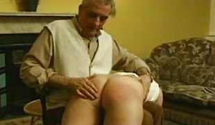 Cruel stepfather spanked his daughter hard