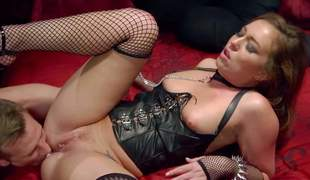 Lovely Maddy Oreilly greater than a leash makes guys every sexual dream a reality. Charming brown haired chick in leather corset and mesh stockings sucks his cock abysm before this guy inserts his beefy knob in her pink cum-hole