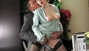 Boss wants his secretary Marina`s pink goodies