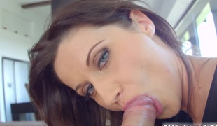 Sultry dark dour Madlin Moon gets the brush big round ass drilled hard until a cum oozes abroad of the brush dark hole like thick custard.