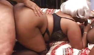 Horny dark fatty mature granny slut enjoys 2 hard cocks