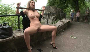Well shaped natural titted European helter-skelter public
