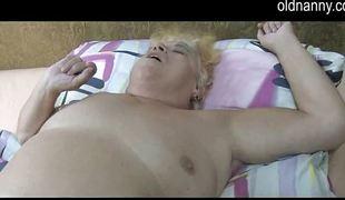 Granny and milf lesbians share big dildo