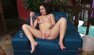 Dark-haired asian Madelyn Monroe shows her naughty parts previous to she plays around herself