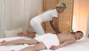 Electrifying lesbian massage with cute Lily added to Lola