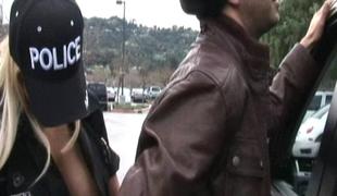 Breasty Blonde Policewoman spreads her legs