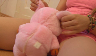Emily showing pussy to her Teddy Bear