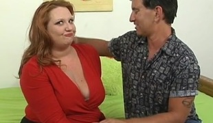 Detailed tittied overweight woman is performing really wonderful fellatio
