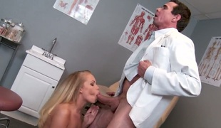 Sweet Britney Young is moaning wildly as Peter North licks her sexy axe wound hungrily