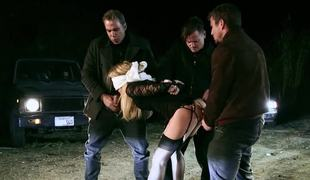 Dogging gal gangbanged by a group of total strangers