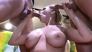 Cumshots on big milk cans with bukkakes