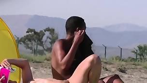 Nudist couples movie clip by a hidden beach camera