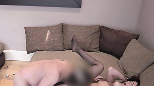 Brunette with butt plug tail banged in casting