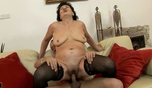 Helena May with huge tits plays with her clit as she acquires her hole hammered