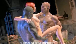 Backroom pussy fucking 3way animated
