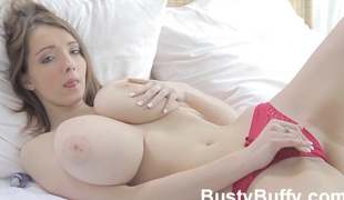Breasty Buffy makes boobies pack in camera