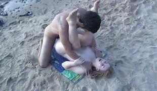 Blonde and boyfriend`s beach fuck