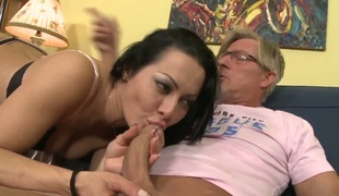 Sandra Romain is not submissive step daughter and her Dad gives a decision to punish her giving the girl great sexual lesson where she sucks his weenie and then rides his pecker