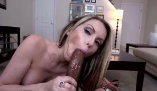 Topless Courtney Cummz gives interracial blowjob