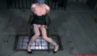Gagged beauty is hoisted around forwards of hard muff inciting