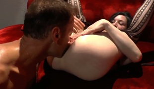 Horny jet-black hair Stoya gives bottomless gulf blowjob on her knees before Rocco Siffredi sticks his thick love bone balls bottomless gulf in her moist tight pink pussy. That babe gets banged rough fucking style by the legend of porn!