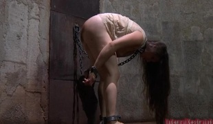 Chained beauty wants hardcore torturing for her cunt