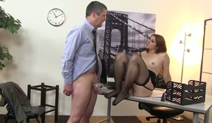 Fem dom at the office with lovely redhead Rose Red