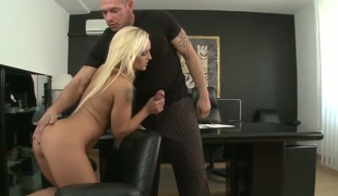 Gorgeous and marvelous blonde babe Krissy Style teasing and seducing their way boss Norby