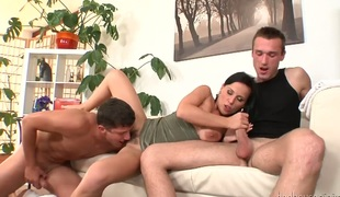 Benito Moss and Kenny Jacobs having fun about beautiful brunette sweetheart Simone and her hairy twat